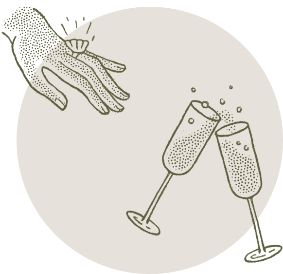Illustration of a hand with an engagement ring, with two champagne glasses clinking.
